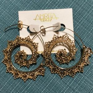 Amrita Singh brass filigree swirl hoop earrings